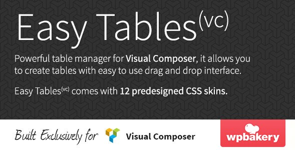 Easy Tables - Table Manager for Visual Composer
