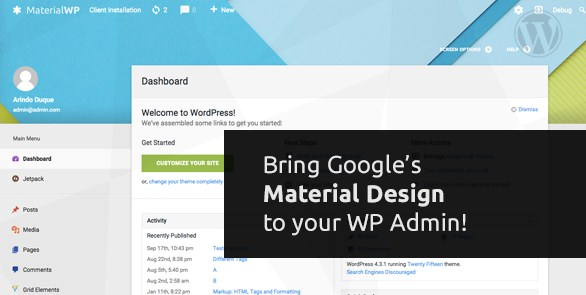 Material WP - Material Design Dashboard Theme